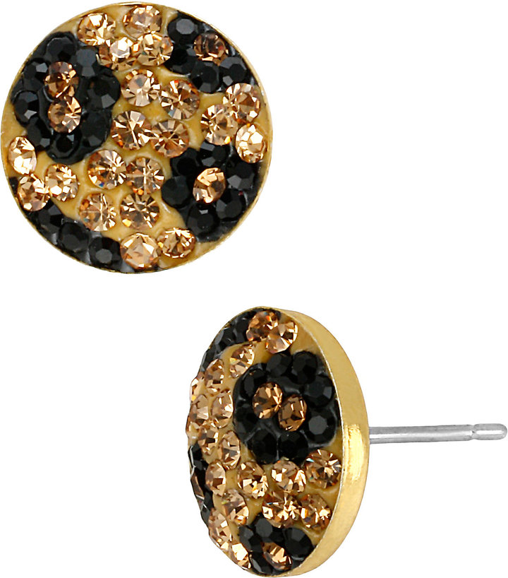 Betsey Johnson Pave Leopard Circle Stud Earring