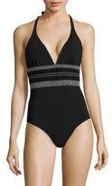 Shoshanna Geometric Smocked One-Piece Swimsuit