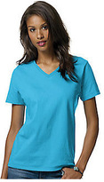 Hanes Women's Relax Fit Jersey V-Neck Tee 5.2 oz (Set of 4)