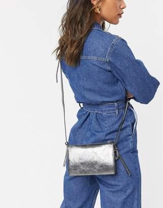 AllSaints miki lea chain wallet leather cross body bag-Silver