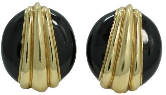 David Webb 18K Yellow Gold and Black Enamel Clip On Earrings