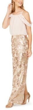 Calvin Klein Cold-Shoulder Chiffon & Sequined Gown