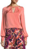 Trina Turk High-Neck Long-Sleeve Stretch Silk Blouse w/ Cutouts
