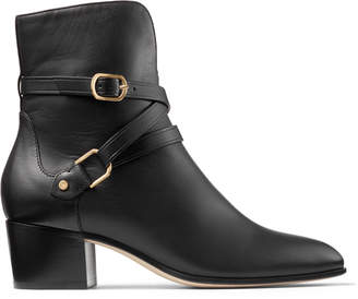 Jimmy Choo HARKER 45 Black Leather Ankle Boots with Strap Detailing