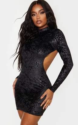 PrettyLittleThing Shape Grey Leopard Print Velvet Cut Out Back Bodycon Dress