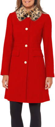 Kate Spade Faux Fur Collar Wool Blend Coat