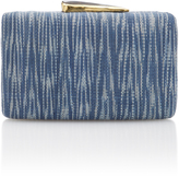 Kayu Blue Printed Straw Clutch
