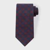 Paul Smith Men's Navy And Burgundy Polka Dot Silk Tie