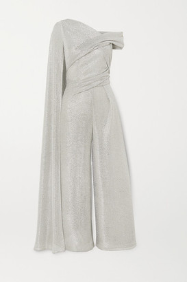 Talbot Runhof Sina Draped Cape-effect Metallic Voile Jumpsuit - Silver