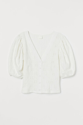 H&M Puff-sleeved V-neck top