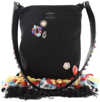 Chanel Brooch Fringe Tote Embellished Wool and Leather Small