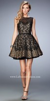 La Femme Lace Polka Dot Short Dress