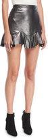 Rebecca Taylor Metallic Leather Mini Skirt with Flounce Hem