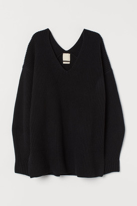 H&M V-neck Wool-blend Sweater - Black