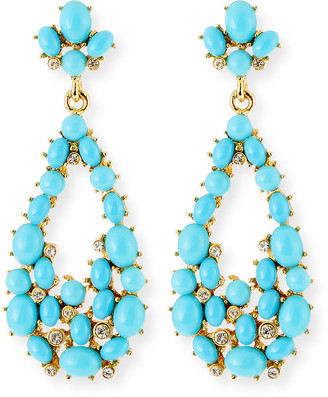 Kenneth Jay Lane Teardrop Cabochon Earrings, Turquoise
