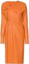 Bottega Veneta wrap-over front midi dress