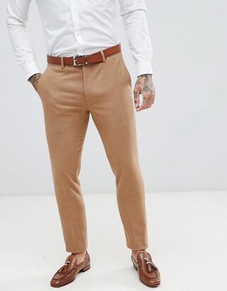 Gianni Feraud Slim Fit Wool Blend Suit Trousers-Brown