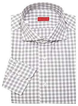 Isaia Men's Gingham Wool Dress Shirt