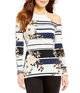 GUESS Jasmine Striped Floral-Printed Cold Shoulder Long-Sleeve Top