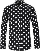 NUTEXROL Men's Polka Dot Print Casual Shirt Long Sleeve Cotton