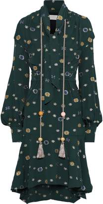 Peter Pilotto Tie-neck Tasseled Metallic Fil Coupe Crepe Dress