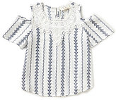 Blu Pepper Big Girls 7-16 Cold-Shoulder Woven Top