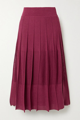 Agnona Pleated Ribbed-knit Midi Skirt - Burgundy