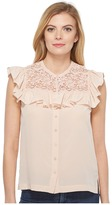 Rebecca Taylor Sleeveless Silk Top w/ Lace