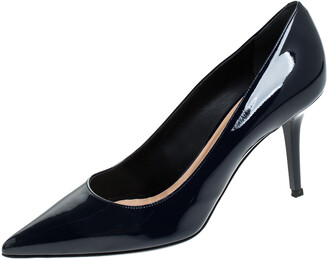 Ballin Blue Patent Leather Pointed Toe Pumps Size 38
