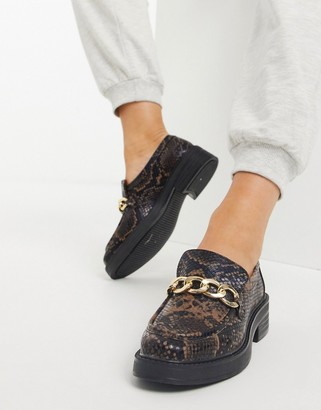 ASOS DESIGN Maple chunky chain loafers in brown snake
