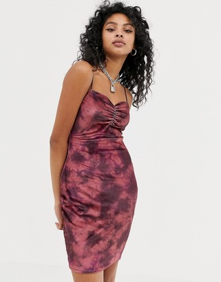 New Girl Order cami bodycon dress in tie dye velvet-Red