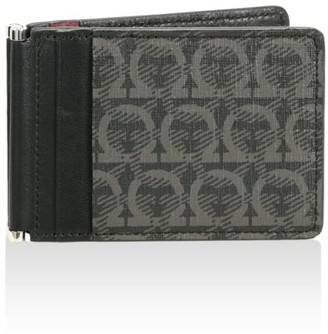Salvatore Ferragamo Gancio-Print Flip Fold Leather Card Case