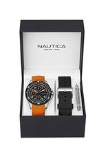 Nautica Men's 'NSR 200' Quartz Stainless Steel and Silicone Casual Watch, Color:Blue (Model: NAD14534G)