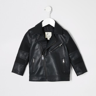 River Island Mini boys Black ridged biker jacket