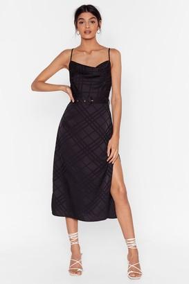 Nasty Gal Womens Grid Satin Midi Dress Check Print - Black