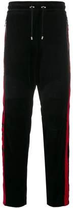 Balmain velvet and red side panel track pants
