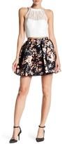 Speechless Embellished Lace Halter & Floral Flared Skirt 2-Piece Set (Juniors)