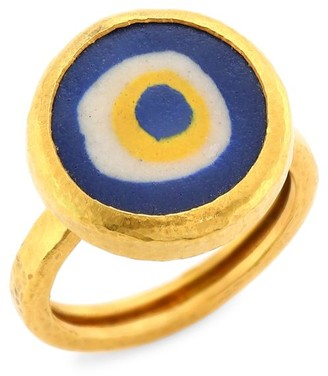 Gurhan Limited Edition 24K Yellow Gold & Glass Evil Eye Ring