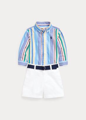 Ralph Lauren Shirt, Belt, & Chino Short Set