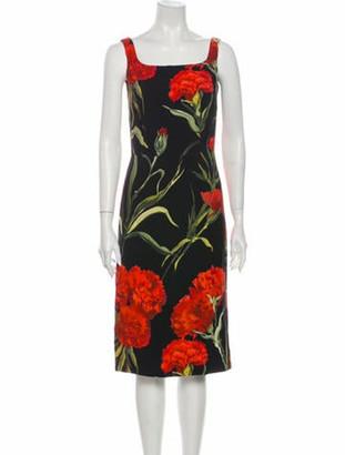 Dolce & Gabbana Carnation Midi Length Dress Black