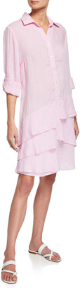 Finley Jenna Washed Linen Shirtdress with Tiered Ruffles