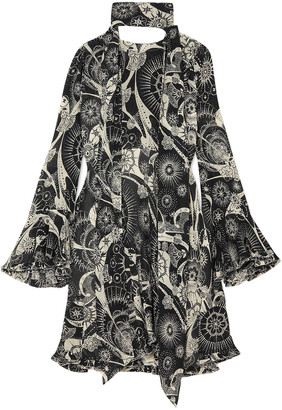 Chloé Printed Cotton And Silk-blend Georgette Mini Dress