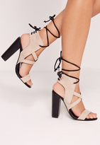 Missguided Cross Strap Lace Back Block Heeled Sandals Nude