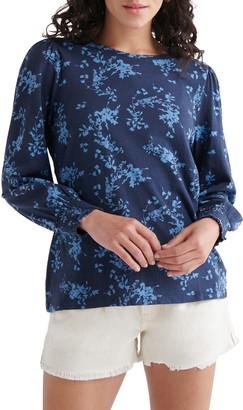 Lucky Brand Floral Print Blouson Sleeve Top