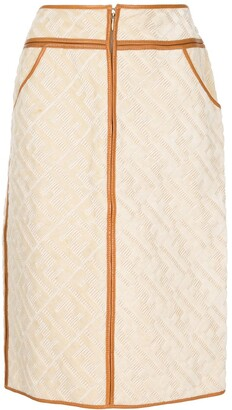 Fendi Pre-Owned Zucca jacquard straight-fit skirt