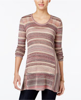 Style&Co. Style & Co. Petite Striped Handkerchief-Hem Sweater, Only at Macy's