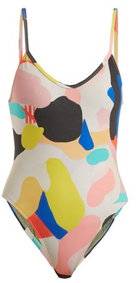 Bower - X Julian Smith Hutton Abstract-print Swimsuit - Womens - Multi