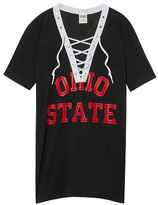 PINK The Ohio State University Lace-up V-neck Tee