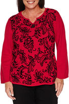 Alfred Dunner WRAP IT UP LONG SLEEVE FLOCKED LEAF SWEATER