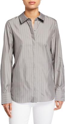 Lafayette 148 New York Scottie Genteel Stripes Button-Down Cotton/Silk Blouse